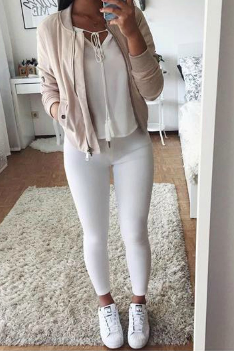 c0e9c60a5ee7 a teen girl taking a selfie in her room in a full length mirror wearing a.  Chic Fall Outfit Idea with white jeans ...