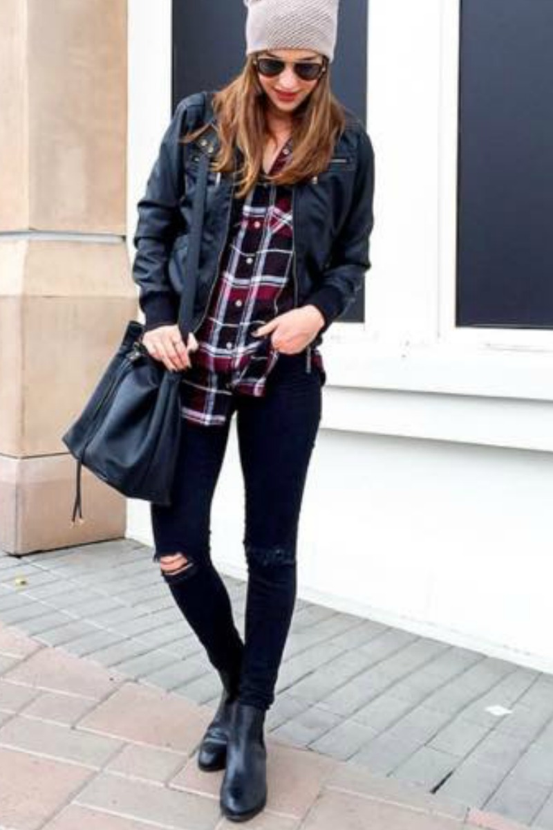 fall-winter-outfit-ideas-casual-beanie-hat-flannel-shirt-ankle-boots