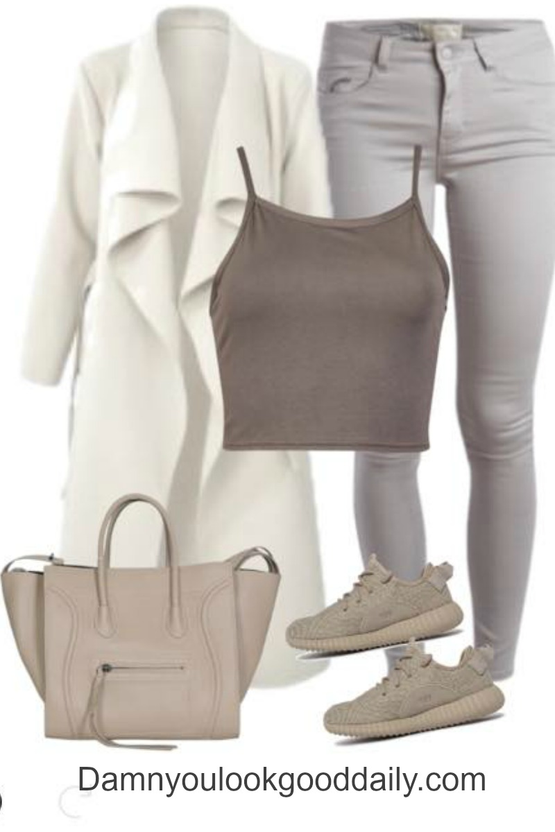 teenage fashion for school in fall or winter casual comfy with yeezy sneakers celine bag grey jeans and white waterfall coat