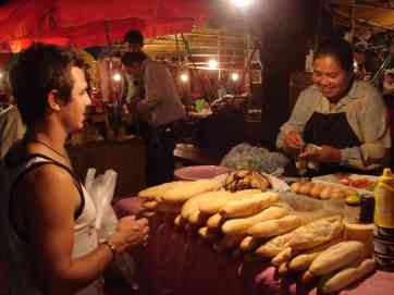 Luke and his famous baguette lady