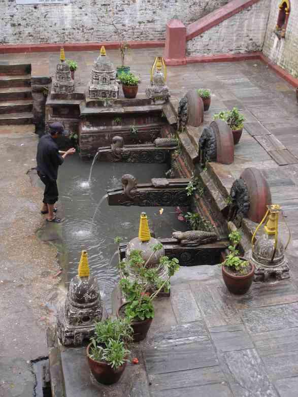 A beautiful set of fountains in Patan's Durbar Sq