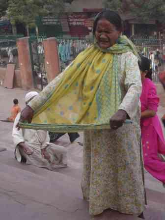 A singing beggar outside Jama Masjid