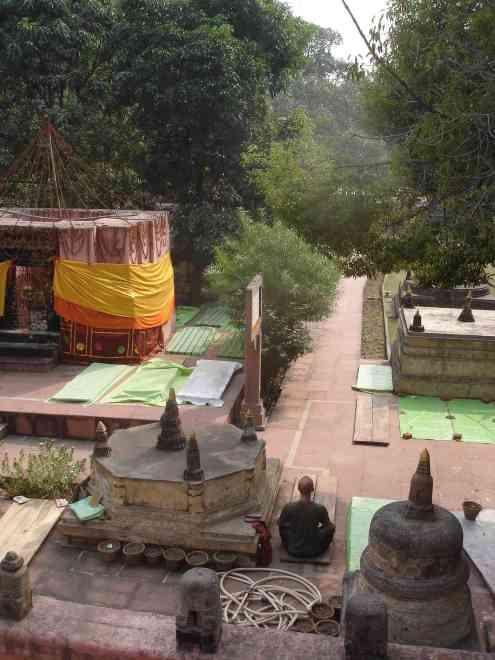 A meditator enjoying the Mahabodi Temple