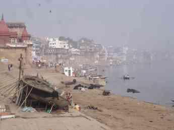 Life teems on the ghats in Varanasi