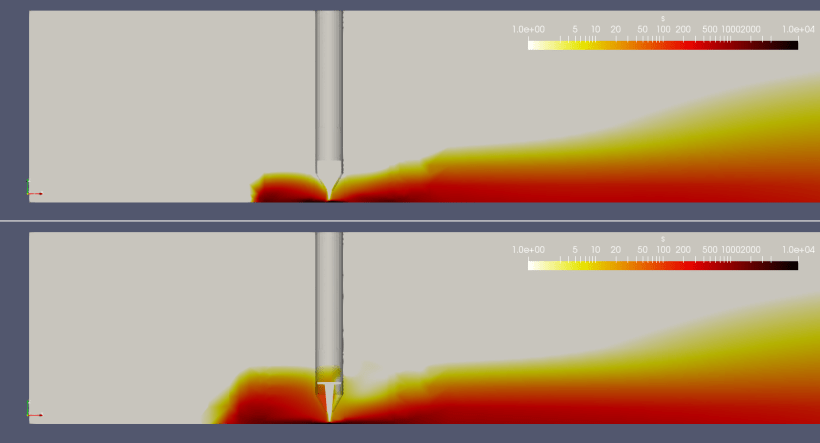 Comparison of original and not-improved air-assist nozzle for a laser cutter