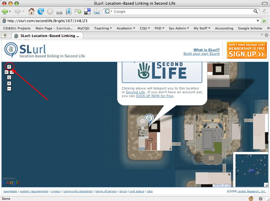 "Example of slurl with the orangle ""teleport now"" button obscured."