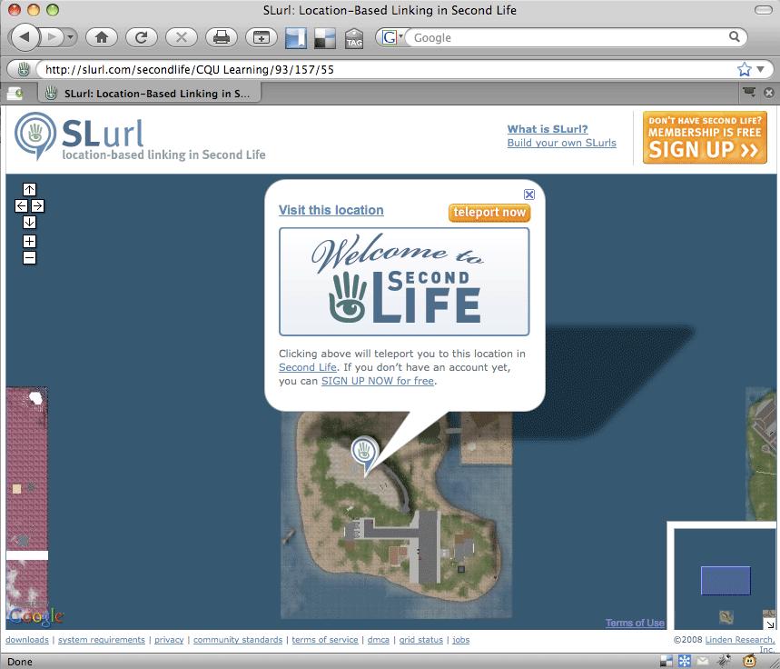 """slurl page showing orange """"teleport now"""" button"""