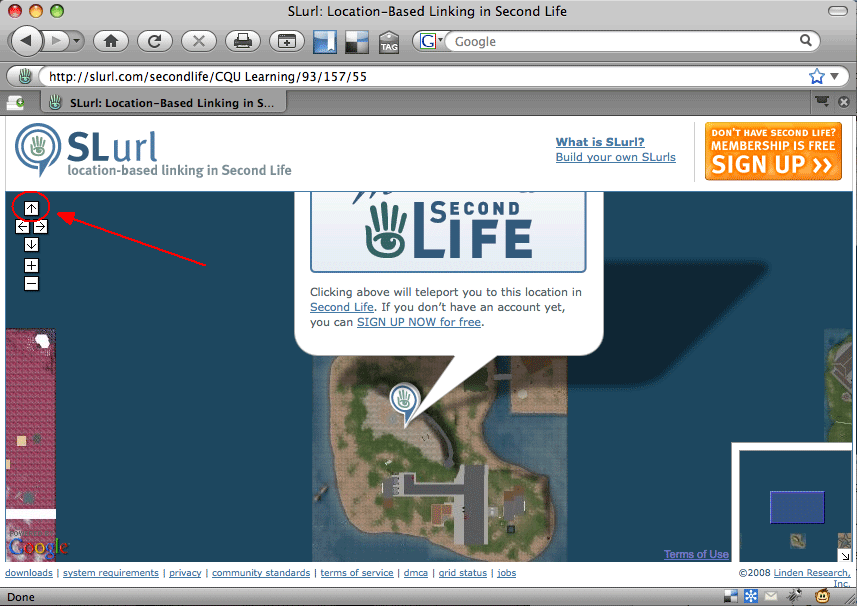 """slurl page with the orangle """"teleport now"""" button obscured."""