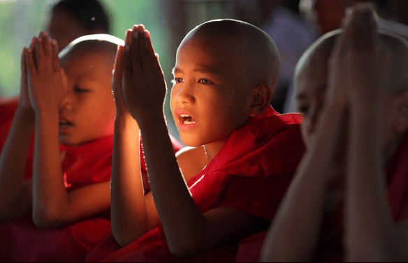 Young Buddhists Monks of Bagan, Myanmar.