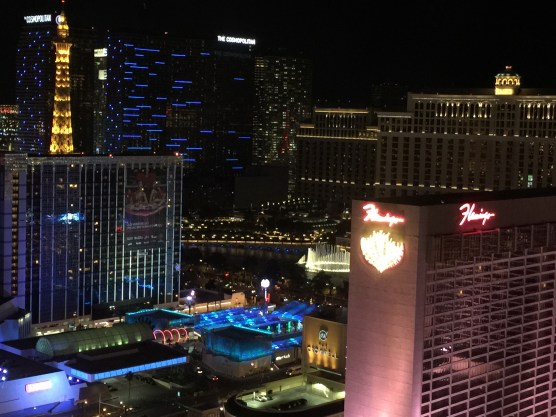 View of the Bellagio fountains from the High Roller