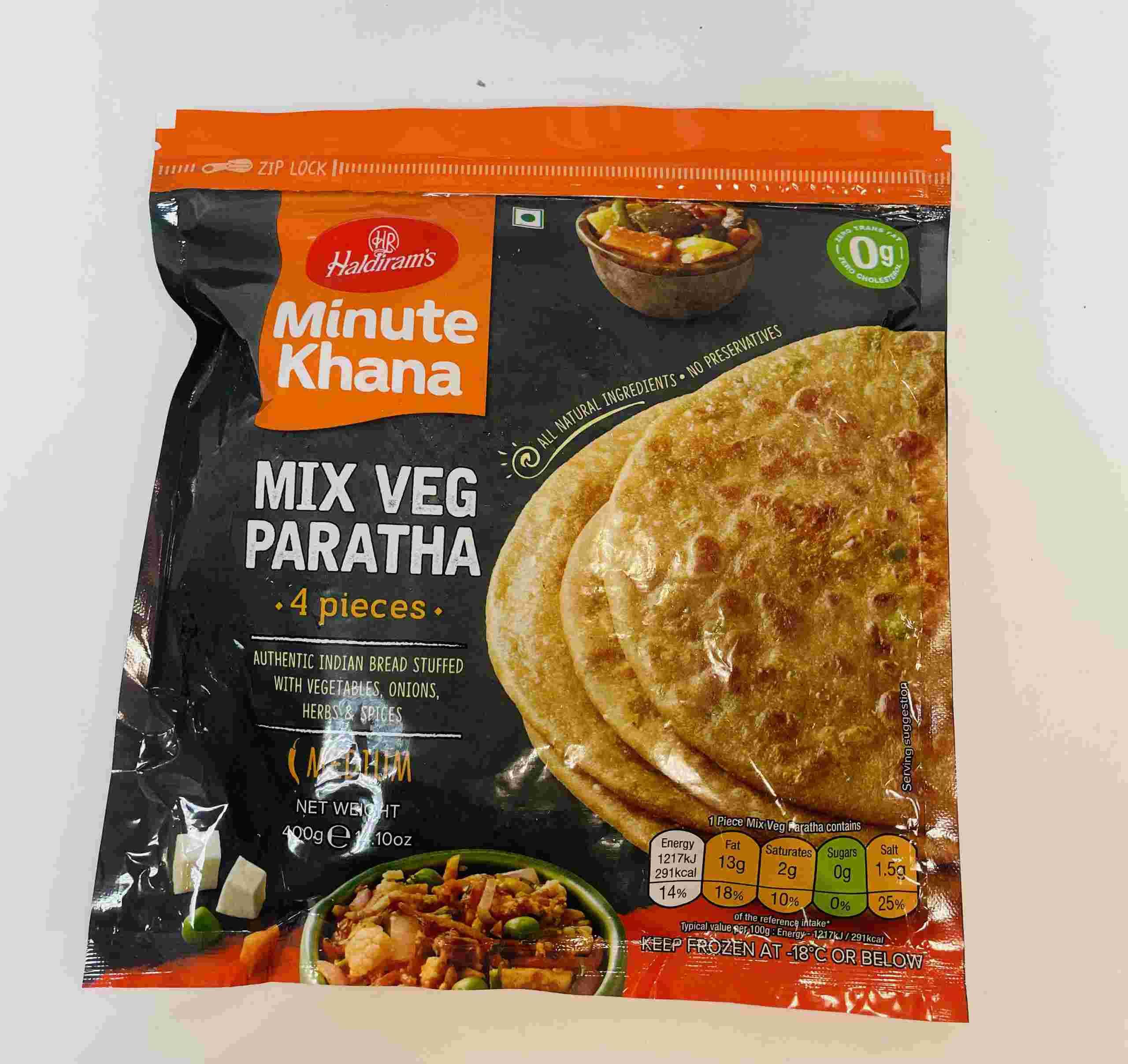 Haldiram's Mix Veg Paratha 4 Pieces