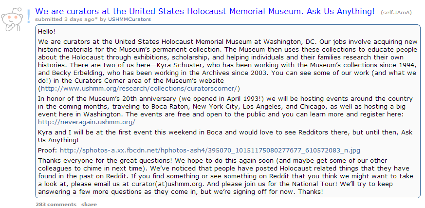 Holocaust Museum to Reddit: Ask Me Anything