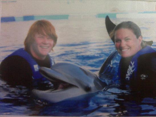 Dan, Bethany, and a Dolphin at Marineland