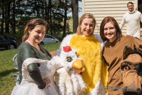 Yep, that's someone dressed in a chicken suit.
