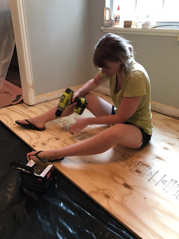 plywood flooring, staple gun, dana morris, DIY, kitchen rennovation