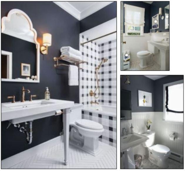 navy bathroom inspiration, bathroom renovation, navy walls, behr paint, beadboard
