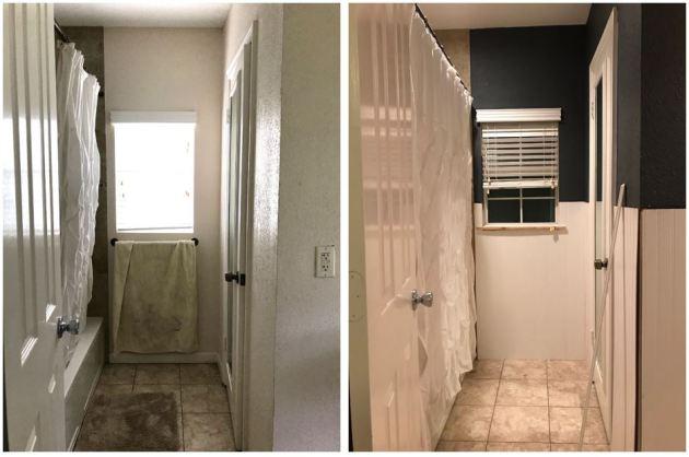 guest bathroom reno, navy bathroom, diy bathroom, beadboard, behr paints, dana morris