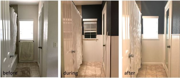guest bathroom, navy bathroom, beadboard in bathroom, before and after, pedetal sink