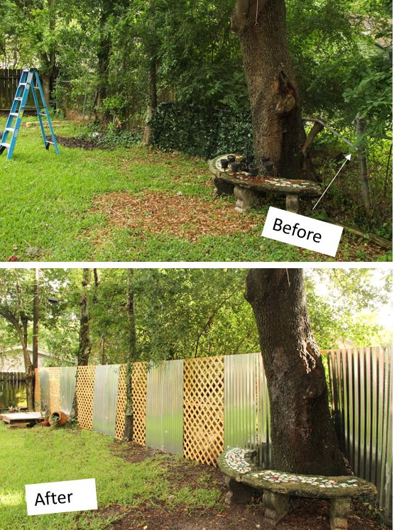 Before and After FEnce, build a fence, woodworking, diy fence, lattice fence, install a fence, disguise chain link fence