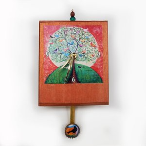 Many Birds Tree precious time clock has a bottle cap pendulum with a small bird. The main image has many birds in one tree and has that saying in the painting. the background of the wooden clock body is painted copper-with a bead detail on the top.