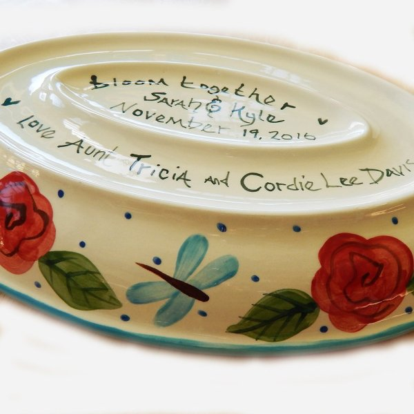 custom wedding platter long love bottom showing bride and grooms names and phrase bloom together