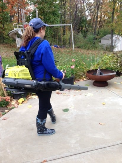 At work with Ryobi Backpack Blower -Dana Vento, Ryobi Backpack Blower Sitting In Leaves, blower, outdoors, technology, appliance, outdoor work, yard, yard work, leaves, debris, dana vento,