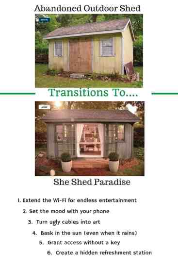 She Shed, Man Cave, REfreshments, WiFi, Tech, cables, doors, lights, how to, easy steps, transition, peace, quiet, tranquility, home, house, family, moment away, reuse, recycle, upcycle, shed, outdoor, homes, ad, Best Buy, dana vento, DIY Blogger,Hidden Refreshments For A #SheShed