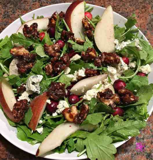 Pear-Arugula-Candied-Walnut-salad