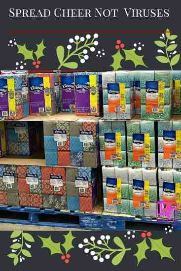 spread cheer, virus, viral, three ply, tissues, cold, virus, family, friend, holidays, colds, sickness, crying, club size, sam's club, ad, 12 packs, find at sam's club, tissue, Kleenex, club size, parties, be kind, pay it forward, spread some cheer, spread cheer not viruses
