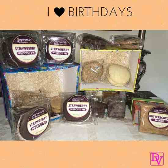 happy birthday, birthday cake, birthdays, getting older, aging, happy birthday to me, gourmet gift baskets, gourmet gift, cookies, cakes, brownies, strawberry whoopie pie, butterscotch blondie, food, food blogger, dana vento, gift, gifting, gifts, birthday gifts, birthday, birthdays, ad
