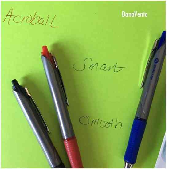 acroball pens, best pens for writing, smooth, vivid, smear proof, pilot, hybrid ink, ergonomic, red, black, green, ink, ink pens, easy to use, professional, glides easily, ad, shoplet, dana vento