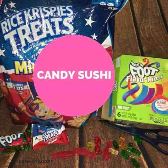 candy sushi, easy to make, recipe, assembly, swedish fish, how to, foot long fruit roll ups, fish, gummies, rice krisy treats,