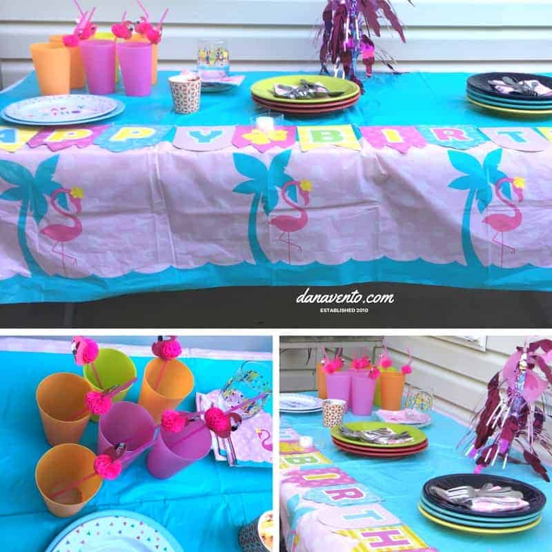 how to throw a pink flamingo themed party, parties, birthday parties, party for kid, party for teens, teens, tweens, adults, summer, celebrations, Flamingo, Pink Flamingo, Flamingo Centerpiece, Flamingo Yard Ornaments, Dessert plates, inflatable flamingo, flamingo straws, birthday party yard sign, bamboo, picks, leis, oriental tradinig, dollar tree, how to, step by step, table coveres, chairs, ice, drinks, cake, how to throw a party, party tips, tricks, drinks, set up a party, summer parties, summer family parties.