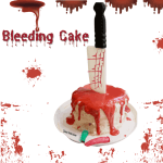 Bleeding cake with blood