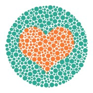 Heart in Ishihara color blind test plate
