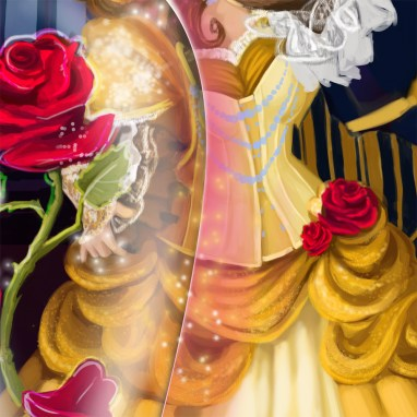 Steampunk Beauty & the Beast digital painting Patreon illustration