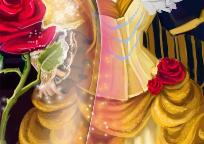 Steampunk Beauty & the Beast digital painting Patreon illustration