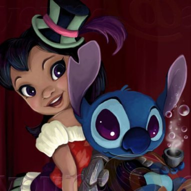 Steampunk Lilo and Stitch fan art digital painting