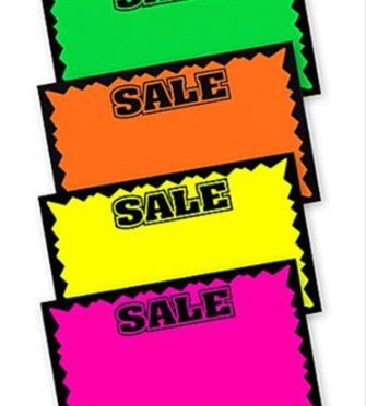 Set of 100 Fluorescent SALE Signs for Vendor Booths or Retail [7x11in]