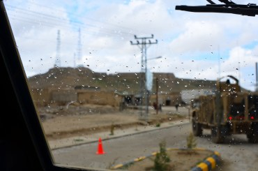 Heading into Qalat during a break in the rain