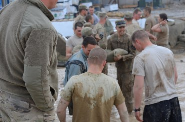 the Soldiers and Seabees quickly pulled together to stop the deluge of water from causing further damage