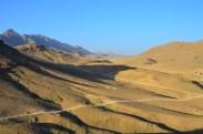 looking down the barren valley from the OP in Mizan
