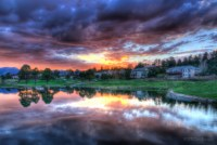 Sunset Reflections by the Fairway landscape photo by Dan Bourque