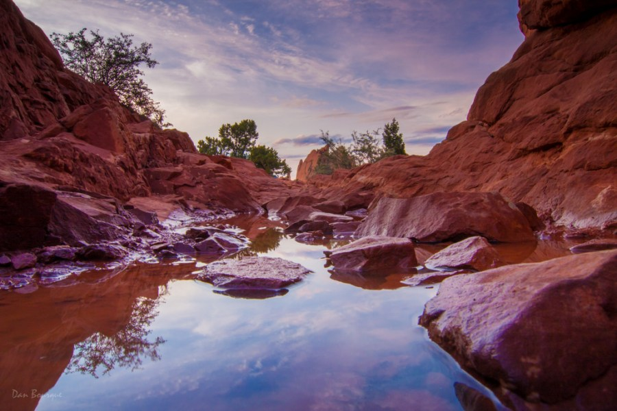 Red Rock Pool at Sunset landscape photo Garden of the Gods Colorado by Dan Bourque