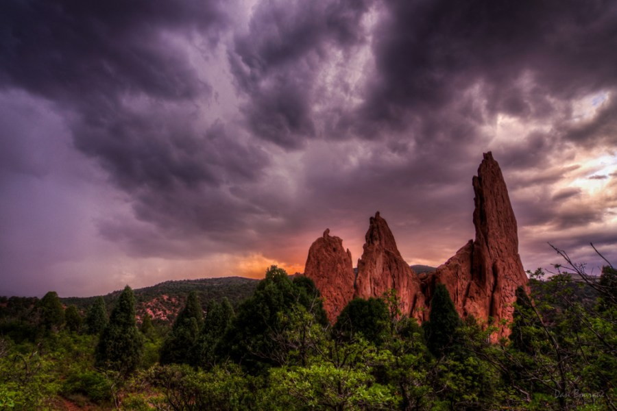 Stormy Sunset over Red Spires landscape photo Garden of the Gods Colorado by Dan Bourque