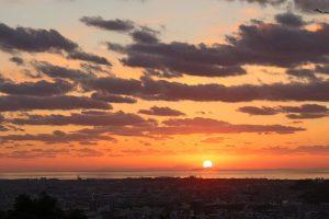 松山城夕日