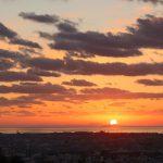 日の出(基山町けやき台)基山で福岡空港からJAL ANA離陸撮影