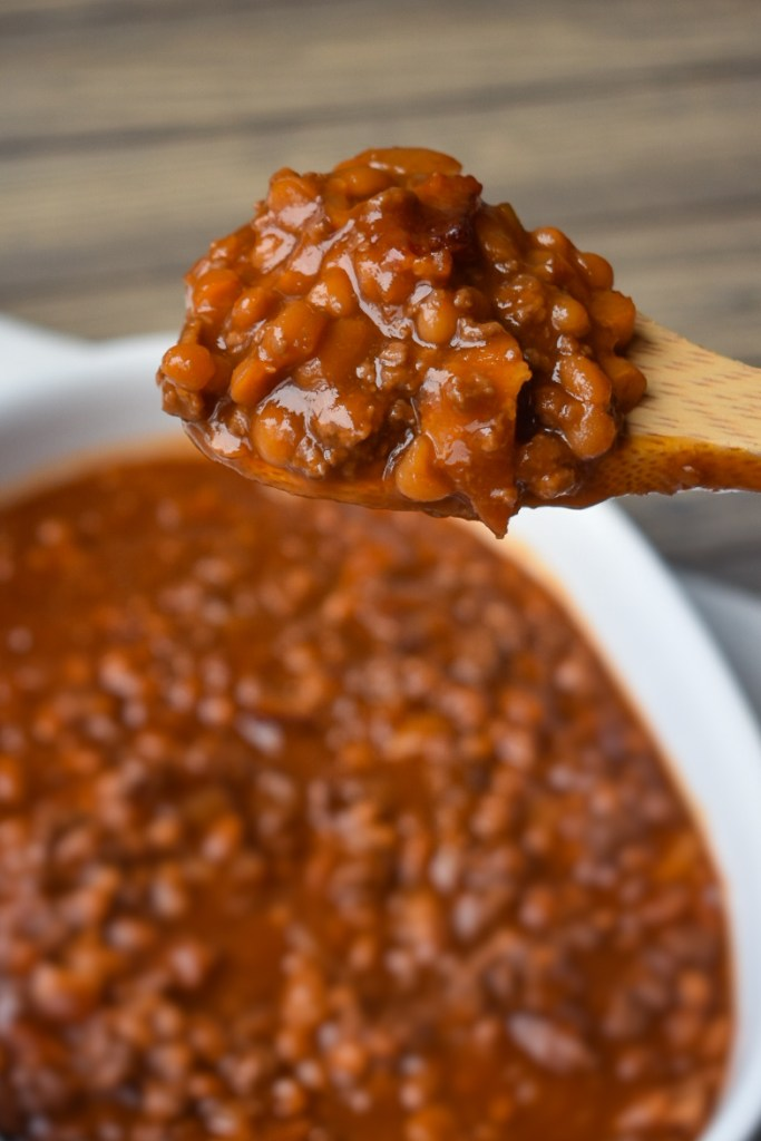 Scoop of baked beans