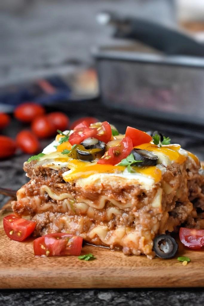 a slice of Enchilada lasagna