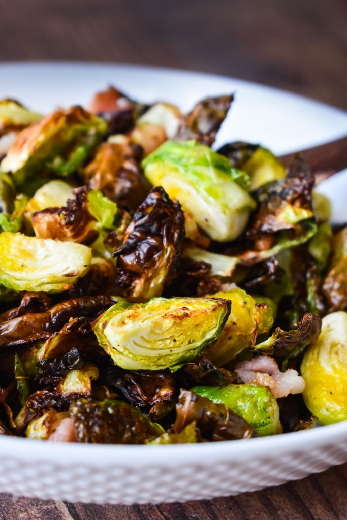 Brussels Sprouts in a white bowl